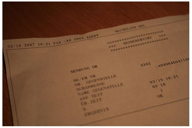 Der Beweis: Sendebericht vom Fax