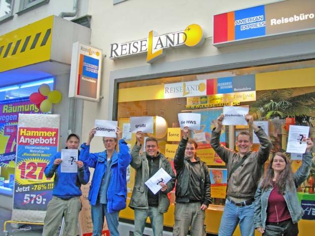 "Solidaritätsaktion bei ""Reiseland"" Göttingen"